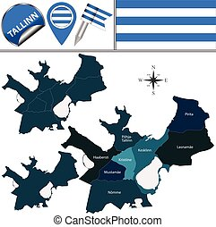 mapa, od, tallinn, estonia, z, okręgi