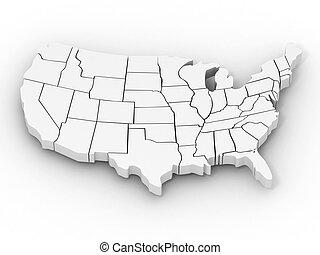 mapa, od, usa