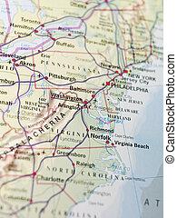 mapa, od, waszyngton
