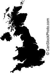 mapa, od, wielka brytania