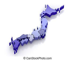 mapa, odizolowany, tło., japonia biała, 3d