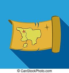 mapa, oeste, tesouro, ocidental, flate., singe, selvagem, ícone