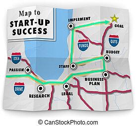 mapa, ofrecimiento, éxito, de arranque, start-up, su, empresa / negocio, direcciones, plan, siguiente, nuevo, compañía, o, camino, ayuda