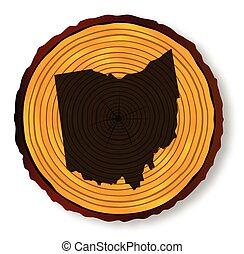 mapa ohio, madeira