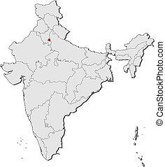 mapa, okolica, highlighted, indie, kapitał, krajowy