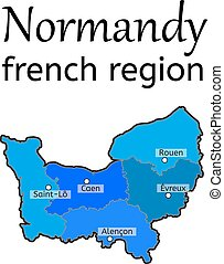 mapa, Okolica,  Normandy, francuski
