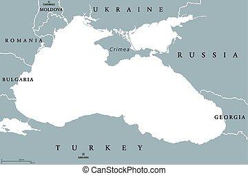 mapa, okolica, polityczny, czarne morze, azov