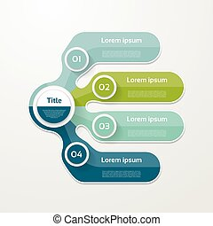 mapa, opção, elementos, banner., infographic, número, layout., quatro, passo, passos, 4, desenho