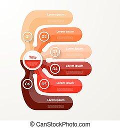 mapa, opção, elementos, banner., infographic, seis, número, layout., passo, passos, 6, desenho