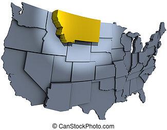mapa, oro, tesoro, nosotros, estado, montana