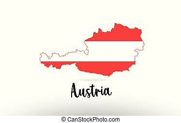 mapa, país, dentro, bandeira áustria, desenho, logotipo, contorno, ícone