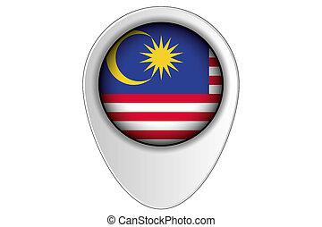 mapa, país, ilustración, bandera malasia, indicador, 3d
