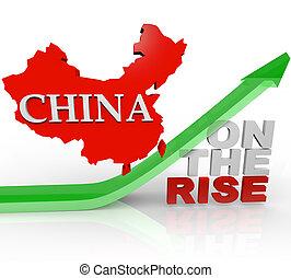 mapa, país, subida, -, china, flecha