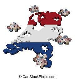 mapa, países bajos, rompecabezas, ilustración, pedazos, bandera, euro