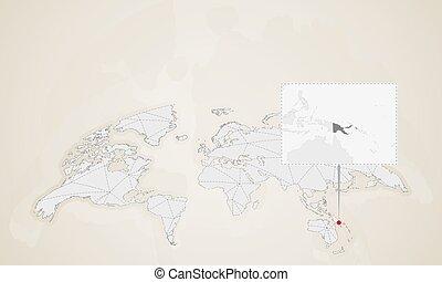 mapa, países, guiné, map., papua, vizinho, mundo novo, fixado