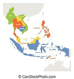mapa, países, region., ásia, sudeste, vetorial, ilustração, sudeste, asia.