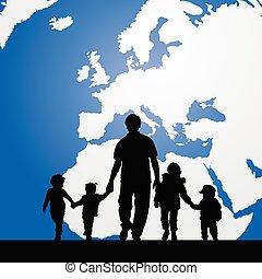 mapa, padre, ilustración, migración, plano de fondo, niños