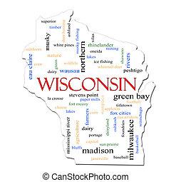 mapa, palabra, concepto, wisconsin, nube
