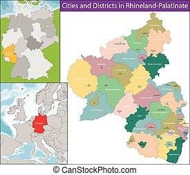 mapa, palatinado renano