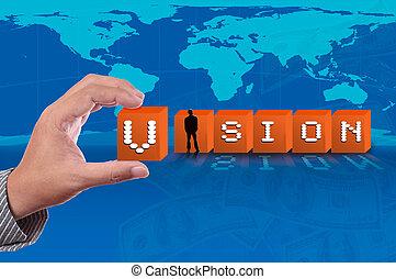 mapa, palavra, negócio, cima, baixo, fundo, pico, empurrão, visão mundial, homem