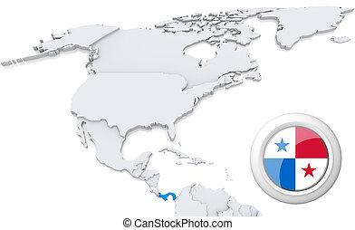 mapa, panamá, américa, norte