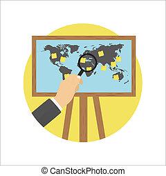mapa, pantalla, proyector