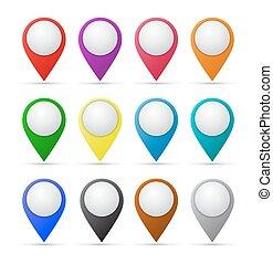 mapa, papel, indicadores, conjunto