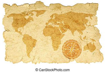 mapa, papel, mundo velho, compasso