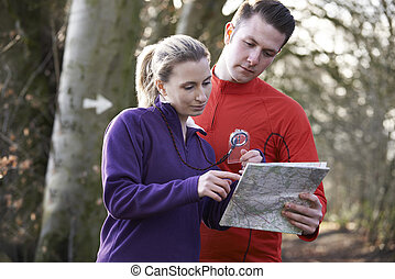 mapa, par, orienteering, bosques, compasso