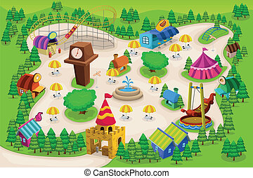 mapa, park, rozrywka