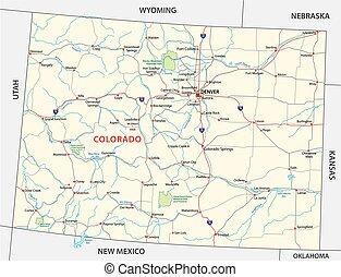 mapa, parque nacional, colorado