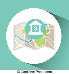 mapa patilla, buiding, diseño, indicador, banco