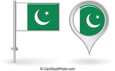 mapa patilla, flag., vector, paquistaní, indicador, icono