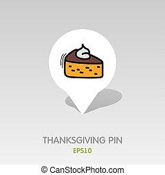 mapa patilla, pastel, acción de gracias, icon., pedazo, ...