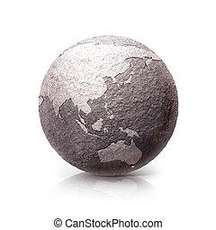 mapa, pedra, austrália, antigas, &, ásia, ilustração, mundo, 3d