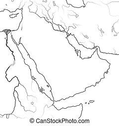 mapa, peninsula:, medio, golfo pérsico, chart., arabia, ...