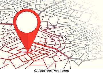 mapa, pin., čípek, osamocený, grafické pozadí, navigátor, neposkvrněný, gps
