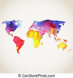 mapa, pintado, experiência., vetorial, aquarelas, mundo, branca