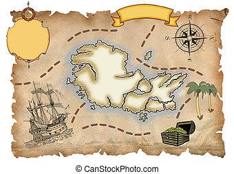 mapa, pirata