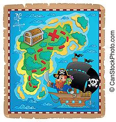 mapa pirata, tema, imagem, 1