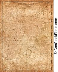 mapa, piratas, vertical, tesouro, ilustração, fundo