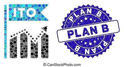 mapa, plano, ito, ícone, b, selo, mosaico, arranhado