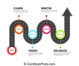 mapa, pojęcie, success., kierunkowy, infographic., droga, meandrowy, wektor, droga, ścieżka, podróż, podróż, podróż