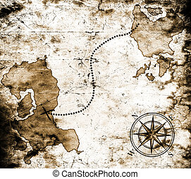 mapa, poklad, dávný