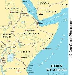 mapa, político, áfrica, cuerno