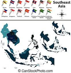 mapa, político, ásia, sudeste