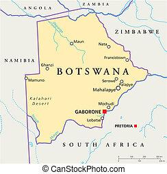 mapa, político, botsuana
