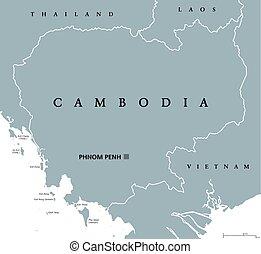 mapa, político, cambodia