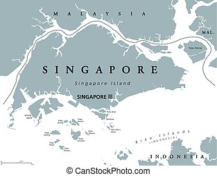 mapa, político, cingapura