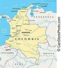 mapa, político, colombia